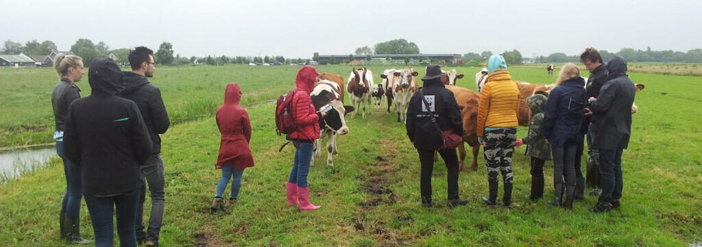 Bezoekers bekijken de weide van boerderij De Lindenhoffet het WNF